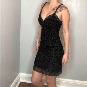 Material girl black cheetah velvet bodycon dress S